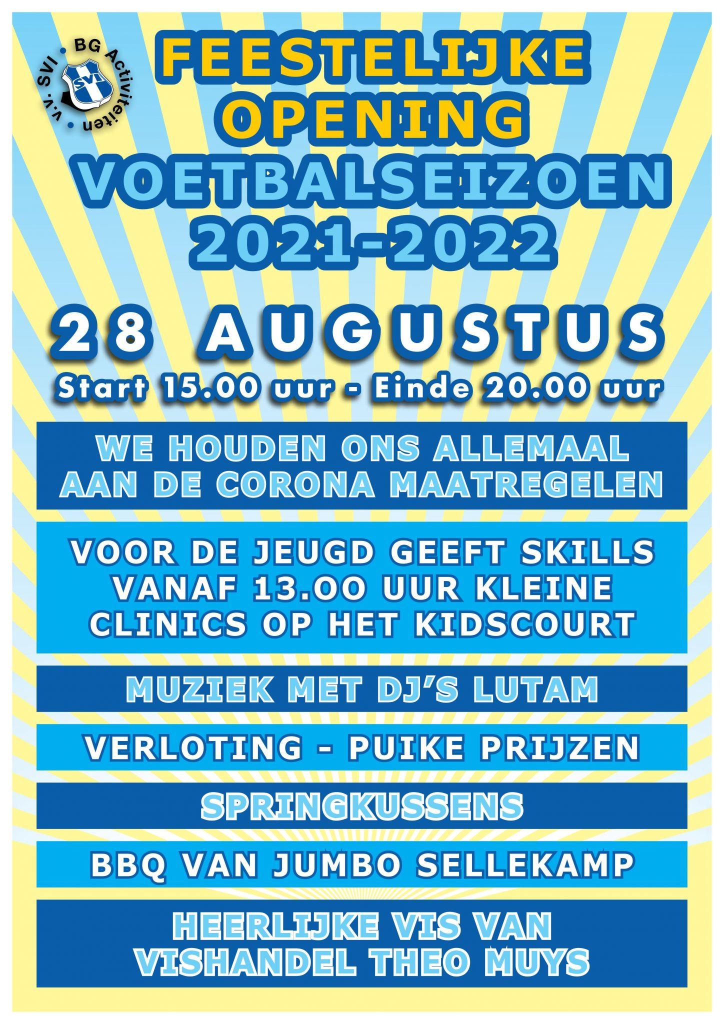 Opening seizoen 2021-2022 op 28 augustus